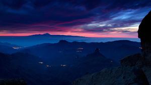 Landscape Mountain Scenic Panorama Night Light Sunset Sky Cloud 1920x1280 Wallpaper