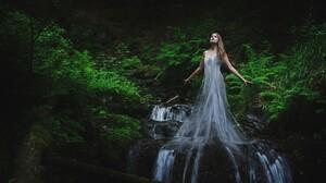 Fantasy Art Women Photo Manipulation Waterfall 2048x1463 Wallpaper