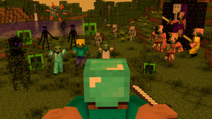 Battle Creeper Minecraft Enderman Minecraft Mojang Nether Portal Skeleton Steve Minecraft Zombie Zom 1920x1080 Wallpaper