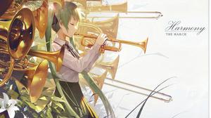 Hatsune Miku Music Anime Girls Anime Musical Instrument Closed Eyes Green Hair White Background Long 1500x924 Wallpaper