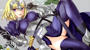 Artwork Fate Series Jeanne DArc Jeanne DArc Fate Anime Girls Robina Thigh Highs Dress Armor Sword Bl 6019x4301 Wallpaper