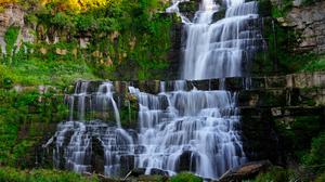 Earth Forest Green Rock Waterfall 1900x1200 wallpaper