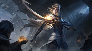 DQ Jake Drawing League Of Legends Diana League Of Legends Blonde Weapon Sword Spell Fantasy Art Dark 1920x1021 Wallpaper