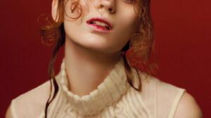 Agatha Maksimova Women Model Redhead Simple Background Makeup Red Background Russian Model 1920x2880 Wallpaper