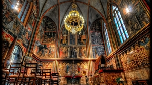 Arch Cathedral Chandelier Church Hdr Prague Religious St Vitus Cathedral 1600x1200 Wallpaper