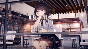 Anime Anime Girls Digital Art Artwork 2D Atha Cafe Reflection 2160x1080 Wallpaper