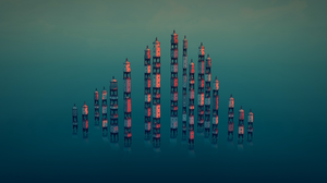 Townscaper Tower Digital Art Skyline Minimalism Video Game Art Architecture Video Games 2560x1440 wallpaper