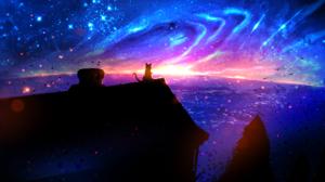 Cat Fantasy House Light Sky Stars Sunset 1853x1063 Wallpaper