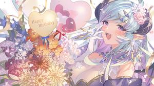 Anime Anime Girls Cyan Hair Open Mouth Happy Birthday Heart Design Flowers Pointy Ears Fangs Horns P 3648x2052 Wallpaper