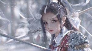 Cheng Li Warrior Warrior Girls Women Sword Armor Armored Fantasy Art Fantasy Girl Digital Art Artwor 1920x1080 Wallpaper