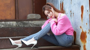 Asian Model Women Long Hair Brunette Jeans White High Heels Pink Pullover Sitting Stairs Ponytail Lo 4562x3041 Wallpaper
