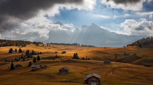 Landscape Nature Field Clouds Mountains Outdoors Sky 2500x1667 wallpaper