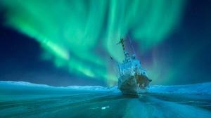 Aurora Borealis Russia Ship Winter 2956x1950 Wallpaper