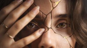 Artwork Women Face Gold Eyes Abstract 1920x1280 Wallpaper