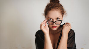 Curly Hair Brunette Red Lipstick Glasses Looking At Viewer 6000x4000 Wallpaper