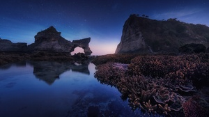 Arch Coral Nature Night Reflection Rock Seascape Sky 2500x1667 Wallpaper