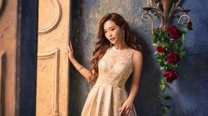 Woman Model Girl Long Hair White Dress Brunette Earrings 4000x2670 Wallpaper