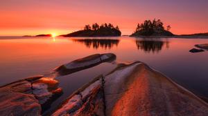 Nature Landscape Water Trees Sunrise Lake Rock Reflection Clear Sky Stones Maxim Evdokimov 2560x1709 Wallpaper