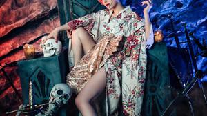 Asian Women Model Skeleton Legs Looking At Viewer Flower Crown Makeup Sword Skull Kimono 1365x2047 Wallpaper