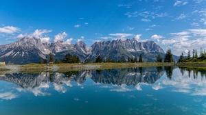 Mountain Reflection Austria 2048x1091 Wallpaper