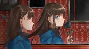 Long Hair Brown Hair Blue Eyes Rose Mirror Earrings 2050x1537 Wallpaper
