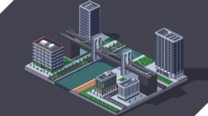 Digital Art Pixel Art Pixelated Pixels Building River Bridge City 7936x3968 Wallpaper