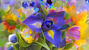Abstract Artistic Colorful Flower Iris Painting 2048x1247 Wallpaper