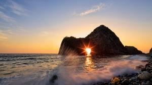 Arch Horizon Nature Ocean Sunrise 3840x2160 Wallpaper