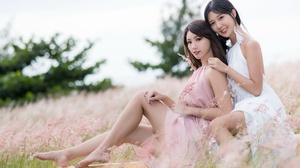 Asian Women Model Long Hair Brunette Pink Dress White Dress Flowers Field Trees Barefoot Depth Of Fi 3840x2160 wallpaper