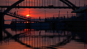 Architecture Building Photography Bridge River Reflection Sunset People Silhouette 2000x1330 Wallpaper