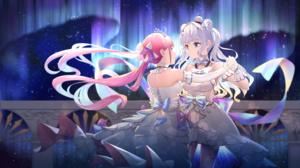 Dance Girl Heterochromia Hololive Kagura Mea Long Hair Minato Aqua Pink Hair Virtual Youtuber White  3000x1688 Wallpaper
