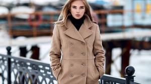 Blue Eyes Coat Girl Model Woman 2560x2048 Wallpaper