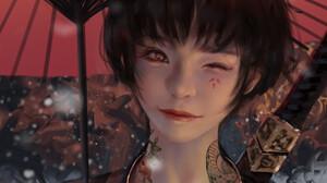 WLOP Women Fantasy Art Fantasy Girl Umbrella Asian Women With Umbrella One Eye Closed Red Lipstick 1132x1992 Wallpaper