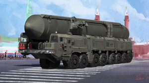 Military Digital Art Russian Army ArtStation Sebastien Hue Sarmat Red Square Moscow Missiles Rocket 3840x1982 Wallpaper