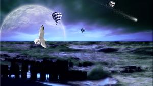 Artistic Fantasy Hot Air Balloon Ocean Planet Sea Seagull 1920x1200 Wallpaper