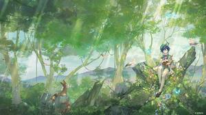 Genshin Impact Anime Anime Girls Nature Animals Musical Instrument Sitting Fantasy Art Fantasy Girl  2560x1440 Wallpaper
