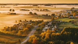 Mist Landscape Sunlight Kaunas Lithuania 3840x2160 Wallpaper