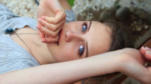 Blue Eyes Girl Model Portrait 4500x3000 Wallpaper