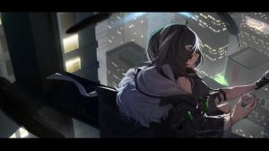 Anime Anime Girls Digital Art Artwork 2D Portrait NewFlame Cityscape Arknights La Pluma Arknights 2160x1080 wallpaper
