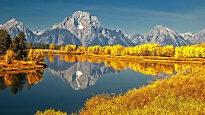 Fall Forest Grand Teton National Park Landscape Mountain Nature Reflection River 1920x1200 Wallpaper
