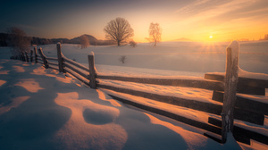 Fence Photography Nature Winter Snow Snow Covered Sunset Sun Trees Landscape Outdoors Cold Field Lub 2500x1666 Wallpaper